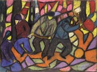 Adolf Hölzel: Farbkomposition Holzfäller, um 1925, Privatbesitz