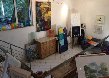 Blick in das Atelier des freischaffenden Künstlers Klaus Mangold in Margetshöchheim.