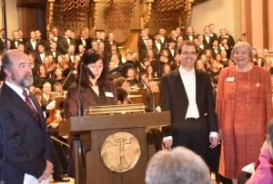 (v.li.) Laudator Jürgen Kozack und Claudia Willerding von der Stiftung Bücher-Diekmeyer, Prof. Matthias Beckert und Stifterin Ingrid Maria Bücher.