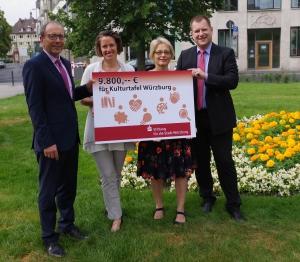 Rainer Ankenbrand und Jens Rauch übergeben einen Scheck über 9.800 Euro an Annette Popp und Marion Gut für die KulturTafel Würzburg (von links). Foto: KulturTafel Würzburg